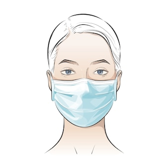 Person wearing disposable medical surgical face mask to protect against high air toxic pollution city