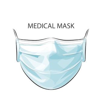 높은 공기 독성 오염 도시로부터 보호하기 위해 일회용 의료 외과 안면 마스크를 착용 한 사람