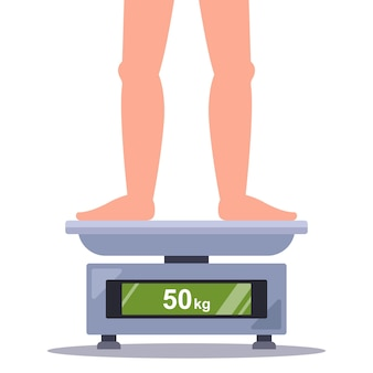 A person weighs his own weight on a bathroom scale flat vector illustration