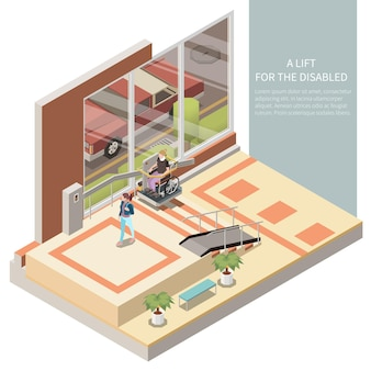 Person in wheelchair using lift for disabled in house lobby 3d isometric  illustration