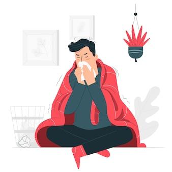 Человек с холодной концепцией иллюстрации