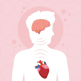 Person with brain and heart