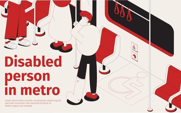 장애인 3d 아이소 메트릭 그림 좌석에 지하철에서 여행하는 부러진 다리를 가진 사람