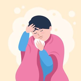 Una persona con raffreddore e febbre