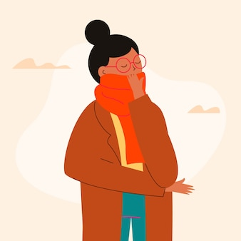 Person with cold illustrated theme