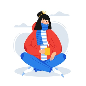 A person with a cold illustration