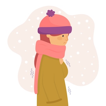 Person with cold theme for illustration