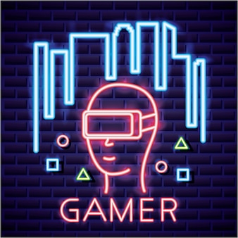Person with virtual reality glasses, video game neon linear style