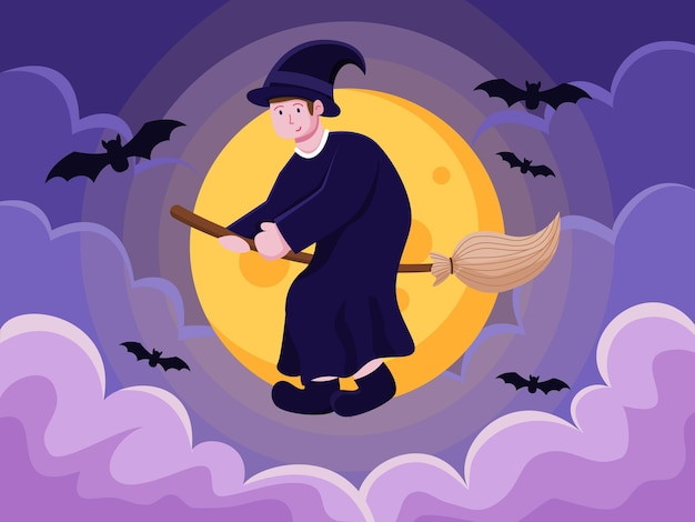 Person with witch costume and flying over the moon with broomstick at halloween day