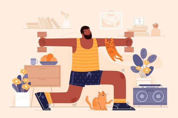 집에서 운동하는 사람
