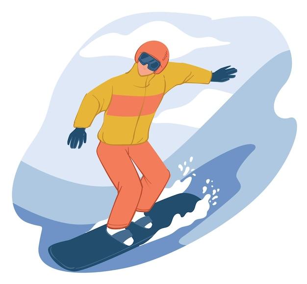 下り坂を行く人格スノーボード。冬のアクティビティやスポーツ、スノーボードやゴーグルを装備した男性キャラクター。アウトドア趣味や休暇のレジャー。フラットスタイルのベクトル