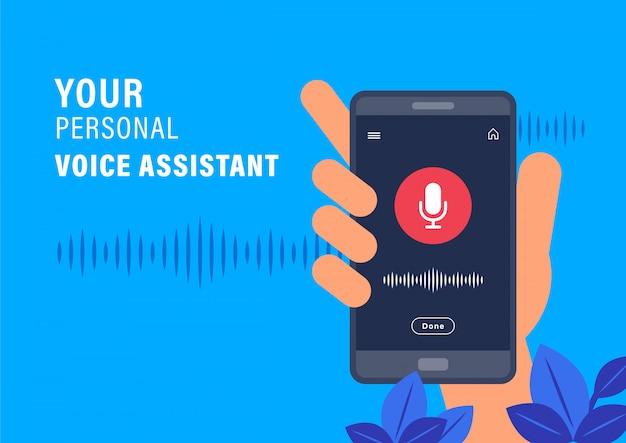 パーソナルアシスタントと音声認識のコンセプト。 ai音声アシスタントアプリケーションでスマートフォンを持っている手。フラットなデザインのベクトル図です。