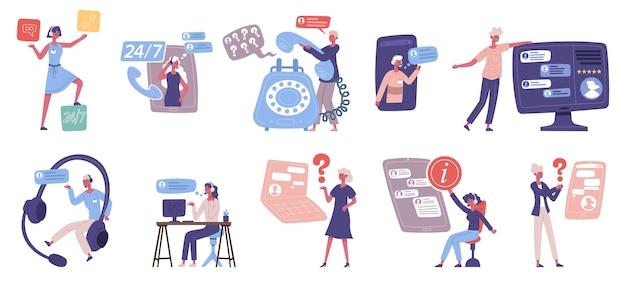 Персональный помощник, колл-центр, поддержка клиентов сетевых услуг. служба технической поддержки клиентов онлайн, набор векторных иллюстраций помощника горячей линии онлайн