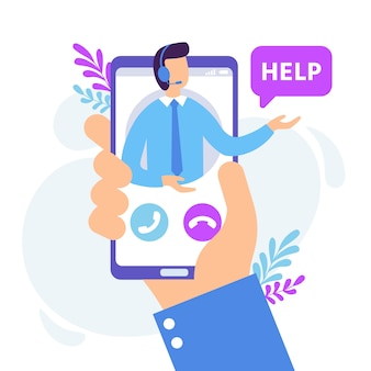 Personal assistant service. virtual technical support smartphone app, personal consult and online communication  illustration