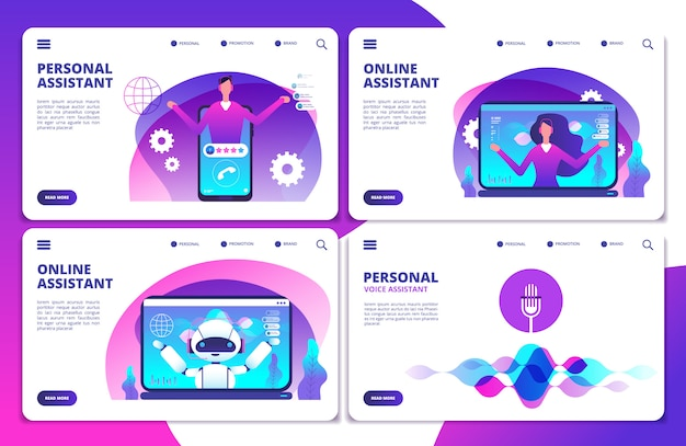 Personal assistant, voice assistant, online robotic assistant landing page set