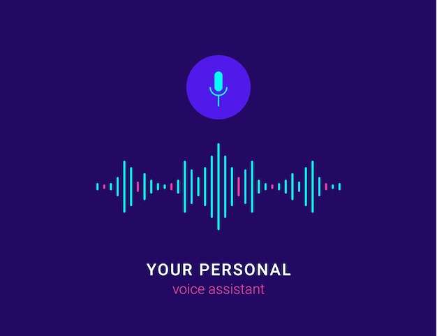 Personal assistant and voice recognition concept flat vector illustration of intelligent technology