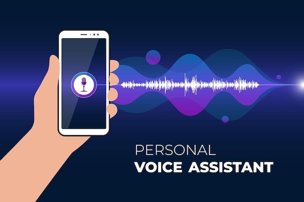 Personal assistant and voice recognition mobile app hand holds smartphone with microphone button on