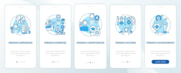Personal brand components turquoise onboarding mobile app page screen with concepts