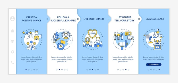 Персональный бренд правила адаптации векторных шаблонов. адаптивный мобильный сайт с иконками. веб-страница прохождение 5 экранов шагов. цветовая концепция здания с линейными иллюстрациями