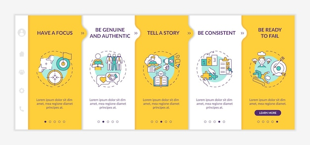 Personal brand rules onboarding vector template. responsive mobile website with icons. web page walkthrough 5 step screens. influencer goals color concept with linear illustrations