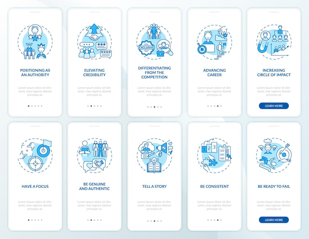 Personal branding blue onboarding mobile app page screen with concepts set