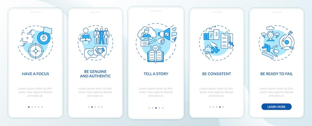 パーソナル ブランディング ルールの青のオンボーディング モバイル アプリのページ画面とコンセプト