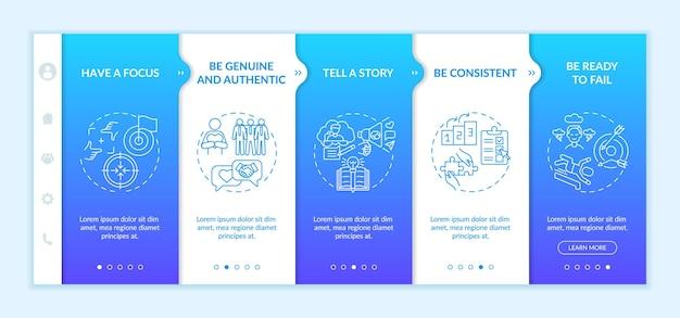 Правила персонального брендинга для ознакомления с векторным шаблоном. адаптивный мобильный сайт с иконками. веб-страница прохождение 5 экранов шагов. концепция цвета лидера мнений с линейными иллюстрациями