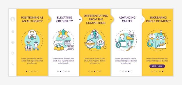 Персональный брендинг задач онбординговый векторный шаблон. адаптивный мобильный сайт с иконками. веб-страница прохождение 5 экранов шагов. цветовая концепция карьеры блоггера с линейными иллюстрациями