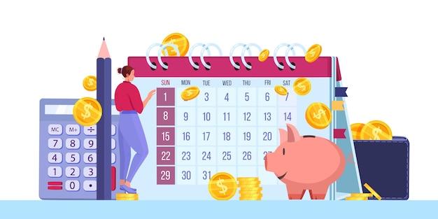 Планирование личного бюджета или концепция ежемесячного налогового отчета с денежными монетами, долларами, календарем, копилкой.