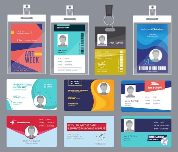 個人カードid。男性または女性のパスポートまたはバッジパーソナルオフィスマネージャービジネスタグデザインテンプレート。