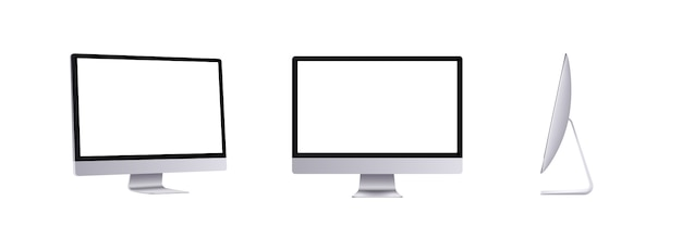전면, 측면 및 각도보기의 개인용 컴퓨터. 현대적인 평면 모니터. 빈 화면 장치 세트, 3d 일러스트 레이 션입니다.