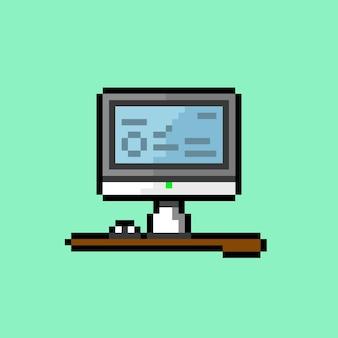 픽셀 아트 스타일이 있는 테이블의 개인용 컴퓨터