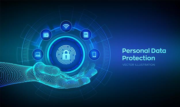 Бизнес-концепция защиты личных данных на виртуальном экране. компьютерная безопасность. отпечаток пальца со значком замка в руке робота. частная охрана и безопасность. векторная иллюстрация.