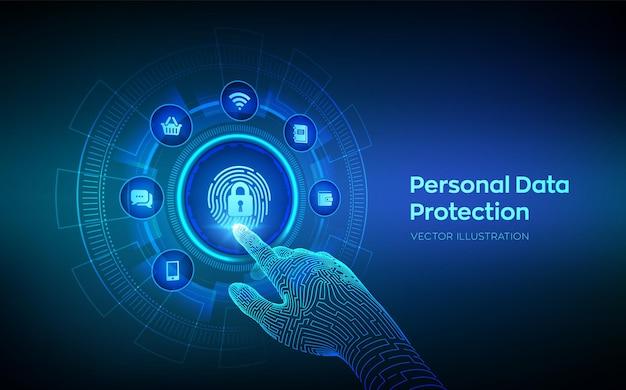 Бизнес-концепция защиты личных данных на виртуальном экране. компьютерная безопасность. отпечаток пальца со значком замка. частная охрана и безопасность. роботизированная рука касаясь цифрового интерфейса. векторная иллюстрация.
