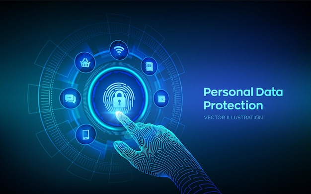 Personal data protection business concept on virtual screen. cyber security. fingerprint with padlock icon. private secure and safety. robotic hand touching digital interface. vector illustration.