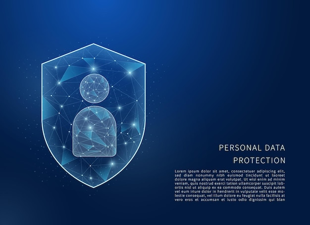 Personal data protection concept polygonal wireframe illustration of shield and personal data
