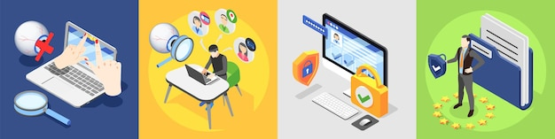 Personal data protection gdpr isometric 4x1 illustration
