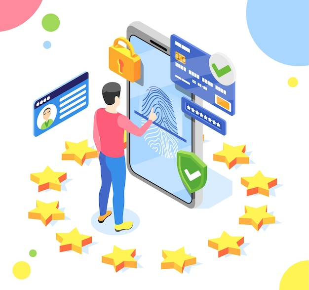Personal data protection gdpr isometric composition with man and smartphone with pictograms inside eu stars circle illustration
