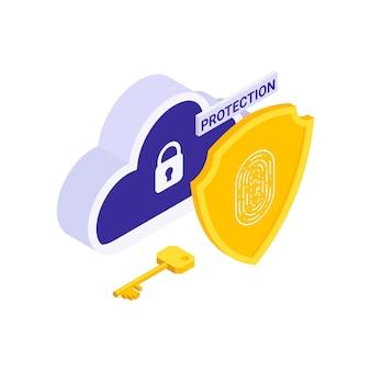 Illustrazione isometrica di protezione dei dati personali con scudo chiave cloud su bianco