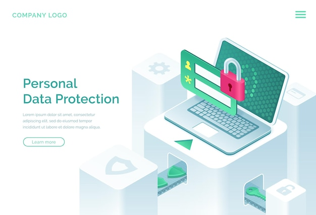Personal data protection isometric landing page