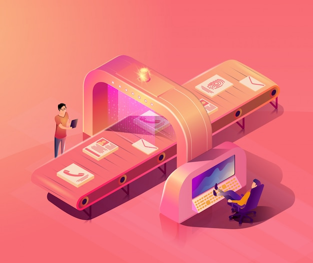 Personal data protection isometric vector concept