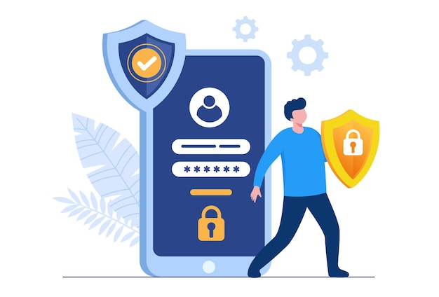 Personal data security, cyber data security online concept illustration, internet security or information privacy. flat vector illustration banner and protection