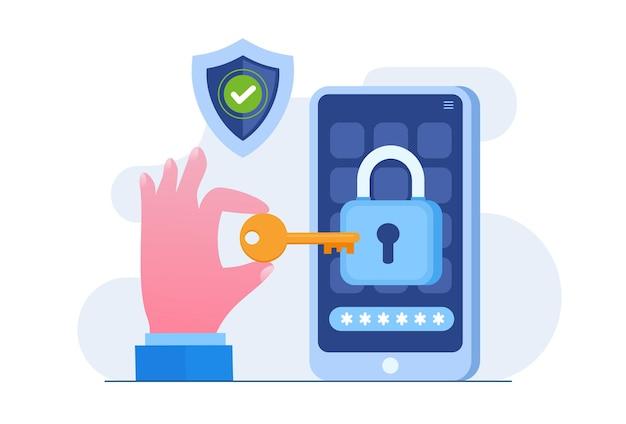 Безопасность личных данных, иллюстрация концепции онлайн-безопасности кибер-данных, безопасность в интернете или конфиденциальность информации. плоские векторные иллюстрации баннер и защита