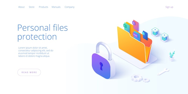 Personal data security in isometric illustration