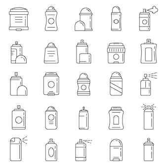 Personal deodorant icons set, outline style