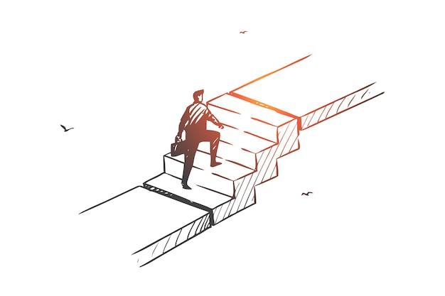 Личное развитие, иллюстрация эскиза концепции карьерной лестницы Premium векторы