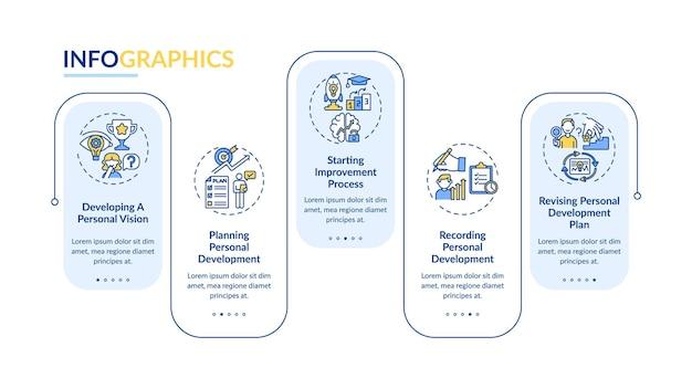 自己啓発の進捗状況のインフォグラフィックテンプレート。成功のプレゼンテーションのデザイン要素。