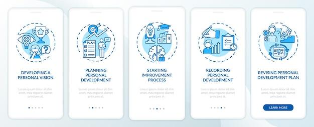 Шаги по личному развитию синий экран страницы мобильного приложения с концепциями