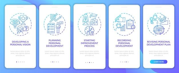 個人開発のステップ コンセプトを備えたネイビー オンボーディング モバイル アプリのページ画面