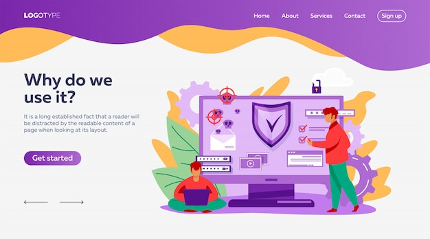 Personal digital security landing page template